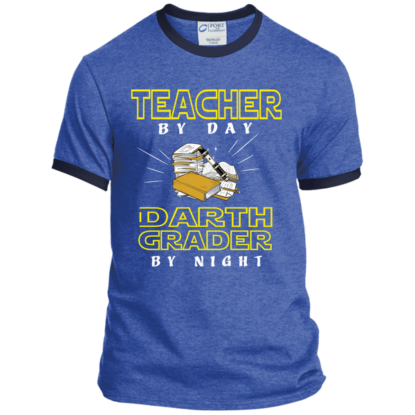 Teacher By Day Darth Grader By Night Ringer Tee - TeachersLoungeShop - 5