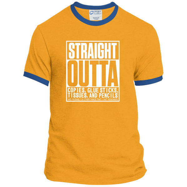 Straight Outta Copies Glue Sticks Tissues and Pencils Ringer Tee - TeachersLoungeShop - 3