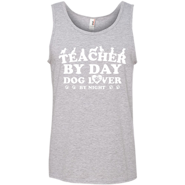 Teacher By Day Dog Lover 100% Ringspun Cotton Tank Top - TeachersLoungeShop - 1
