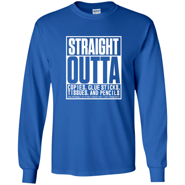 Straight Outta Copies Glue Sticks Tissues and Pencils LS Ultra Cotton Tshirt - TeachersLoungeShop - 9