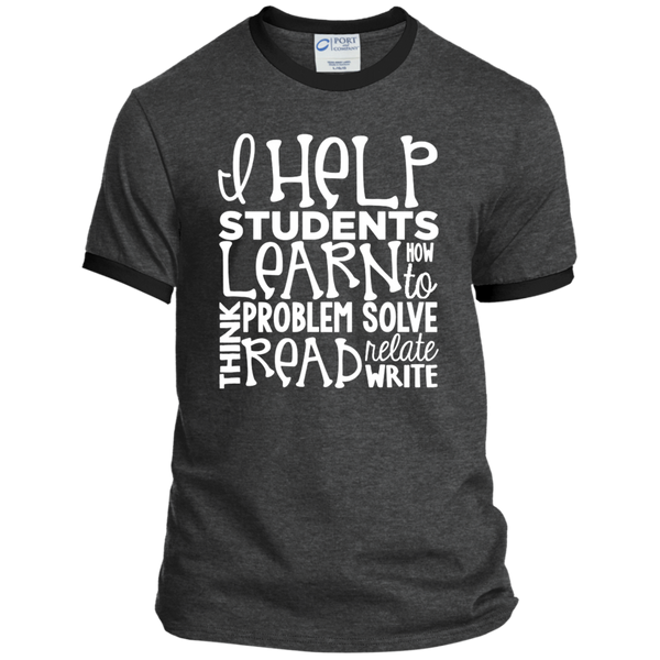 I Help Students Learn Think Problem Solve Read Relate Write Ringer Tee - TeachersLoungeShop - 3