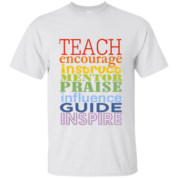 Teach Encourage Instruct Mentor Praise Influence Guide Inspire Cotton T-Shirt - TeachersLoungeShop - 2