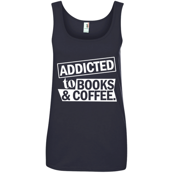 Addicted to Books and Coffee Ladies' 100% Ringspun Cotton Tank Top - TeachersLoungeShop - 4