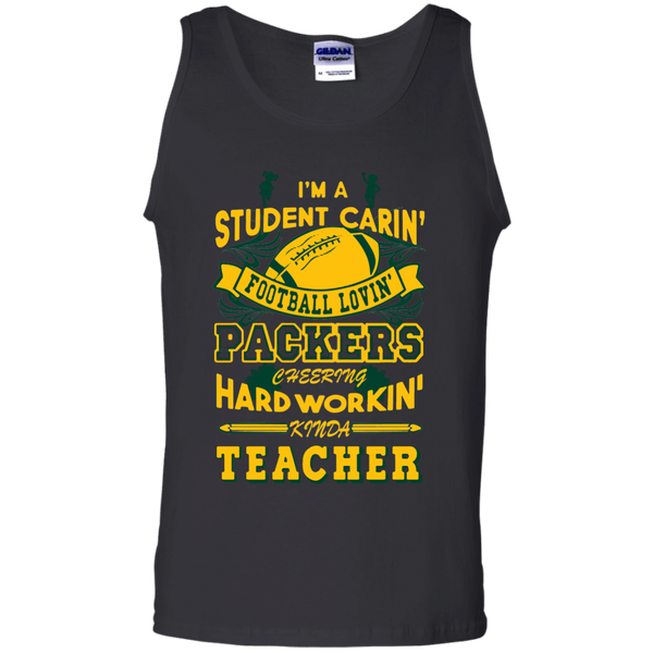 Student Caring Loving Cheering Packers Teacher  Cotton Tank Top - TeachersLoungeShop - 1