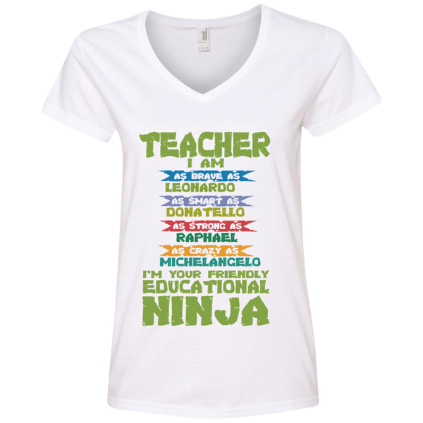 Teacher I'm Your Friendly Educational Ninja Ladies' V-Neck Tee - TeachersLoungeShop - 3