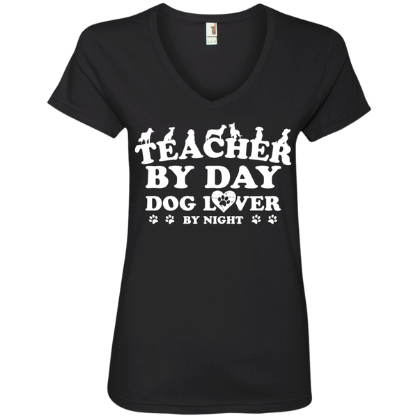 Teacher By Day Dog Lover  Ladies' V-Neck Tee - TeachersLoungeShop - 1