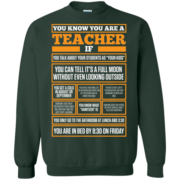 You know You are a Teacher if  Crewneck Pullover Sweatshirt  8 oz - TeachersLoungeShop - 4