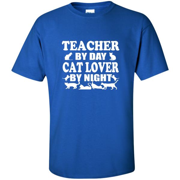 Teacher by Day Cat Lover by Night Cotton T-Shirt - TeachersLoungeShop - 3
