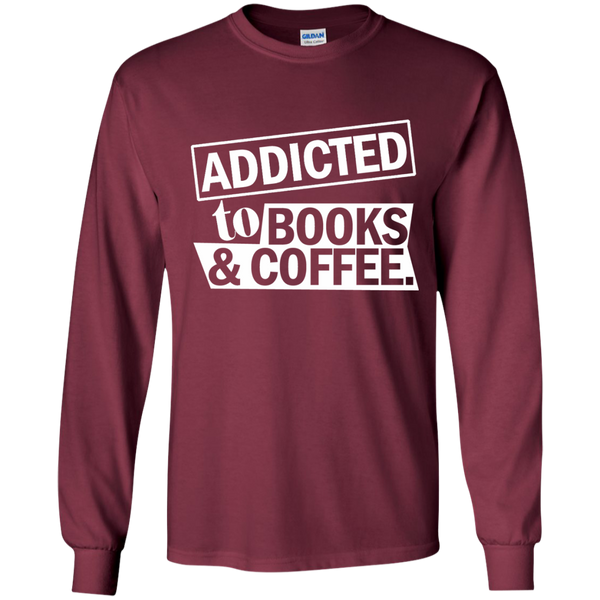 Addicted to Books and Coffee LS Ultra Cotton Tshirt - TeachersLoungeShop - 8