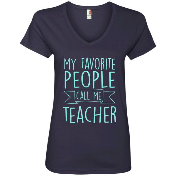 My Favorite People Call Me Teacher Ladies' V-Neck Tee - TeachersLoungeShop - 4