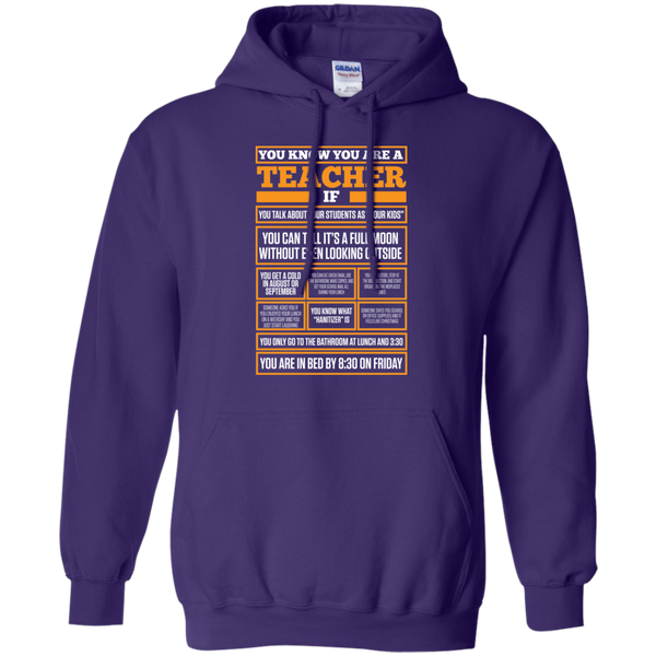 You know You are a Teacher if  Hoodie 8 oz - TeachersLoungeShop - 8