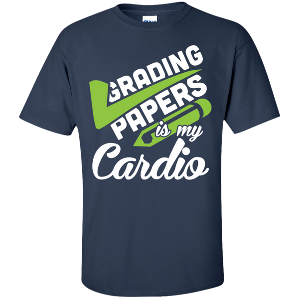 Grading papers is my cardio Cotton T-Shirt - TeachersLoungeShop - 4