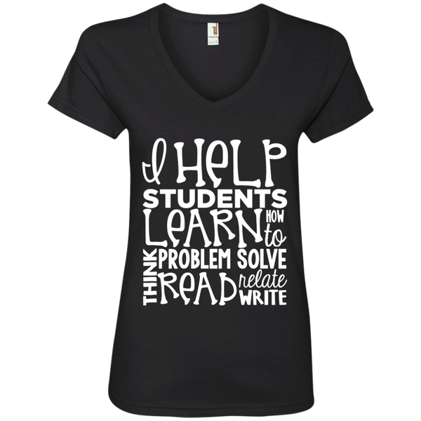I Help Students Learn Think Problem Solve Read Relate Write Ladies' V-Neck Tee - TeachersLoungeShop - 1