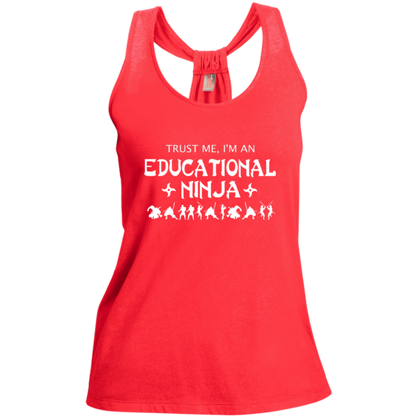 Trust Me I'm An Educational Ninja Ladies Shimmer Loop Back Tank - TeachersLoungeShop - 2