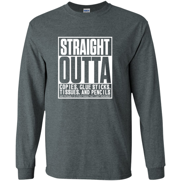 Straight Outta Copies Glue Sticks Tissues and Pencils LS Ultra Cotton Tshirt - TeachersLoungeShop - 6
