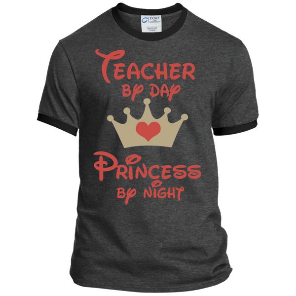 Teacher by Day Princess by Night Ringer Tee - TeachersLoungeShop - 5