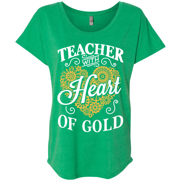 Teacher with Heart of Gold  Level Ladies Triblend Dolman Sleeve - TeachersLoungeShop - 9