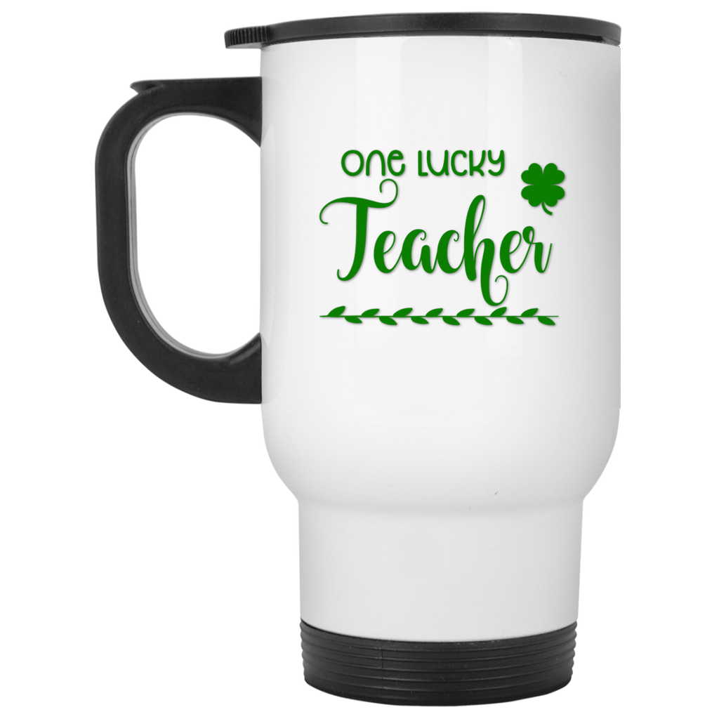 One Lucky Teacher White Travel Mug