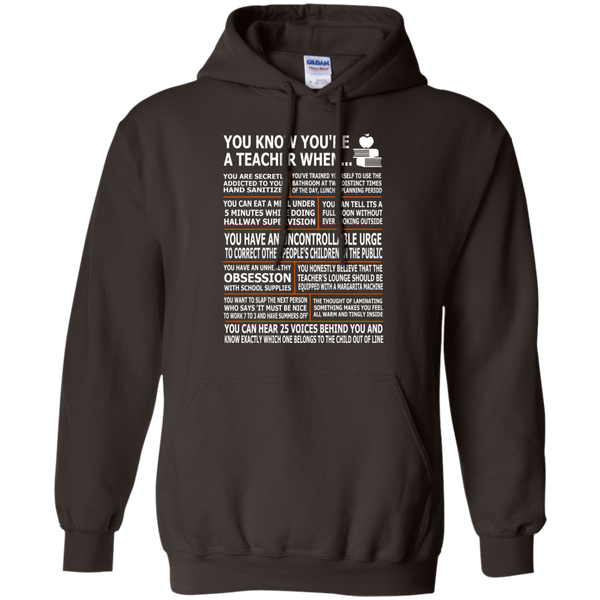 You Know You're a Teacher When Pullover Hoodie 8 oz - TeachersLoungeShop - 5