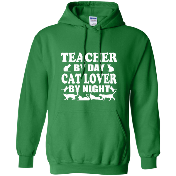 Teacher by Day Cat Lover by Night Pullover Hoodie 8 oz - TeachersLoungeShop - 8