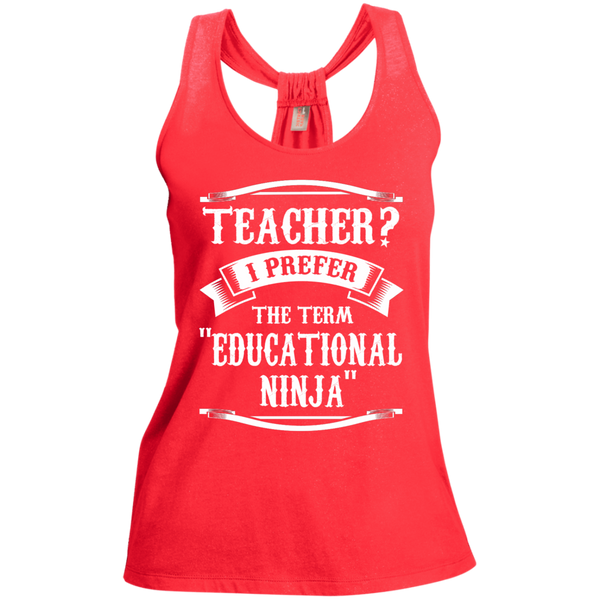 Teacher i Prefer the term Educational Ninja Ladies  Shimmer Loop Back Tank - TeachersLoungeShop - 2