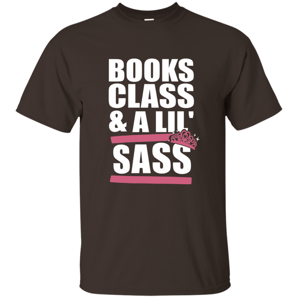 Books Class and A Little Sass Cotton T-Shirt - TeachersLoungeShop - 6