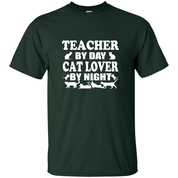 Teacher by Day Cat Lover by Night Cotton T-Shirt - TeachersLoungeShop - 6