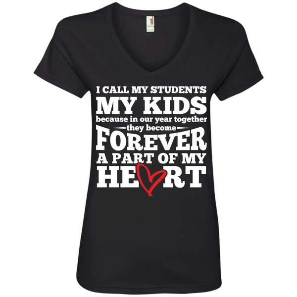 I call my students my kids   V-Neck Tee - TeachersLoungeShop - 1
