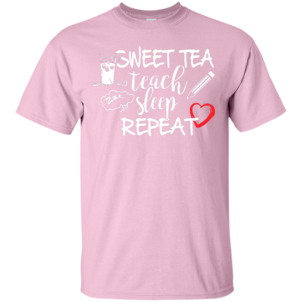 Sweet Tea Teach Sleep Repeat  T-Shirt - TeachersLoungeShop - 5