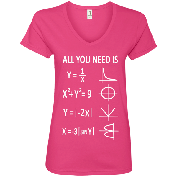 All You Need is Love Ladies' V-Neck Tee - TeachersLoungeShop - 2