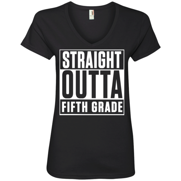 Straight Outta Fifth Grade ' V-Neck Tee - TeachersLoungeShop - 1