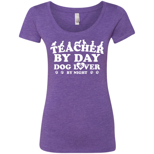 Teacher By Day Dog Lover Next Level Ladies Triblend Scoop - TeachersLoungeShop - 2