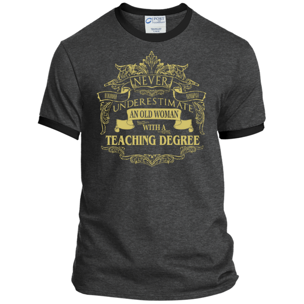 Never Underestimate An Old Woman With A Teaching Degree Ringer Tee - TeachersLoungeShop - 5