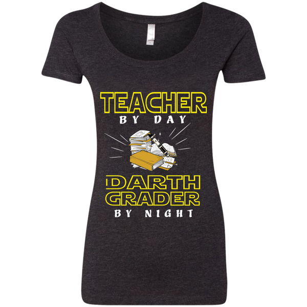 Teacher By Day Darth Grader By Night Next Level Ladies Triblend Scoop - TeachersLoungeShop - 3
