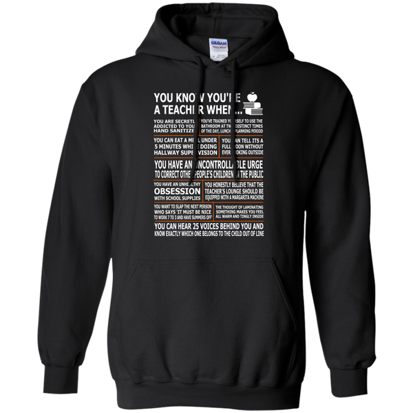 You Know You're a Teacher When Pullover Hoodie 8 oz - TeachersLoungeShop - 1