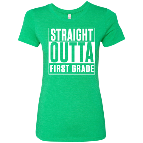 Straight Outta First Grade  Level Ladies Triblend T-Shirt - TeachersLoungeShop - 1