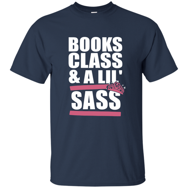 Books Class and A Little Sass Cotton T-Shirt - TeachersLoungeShop - 5