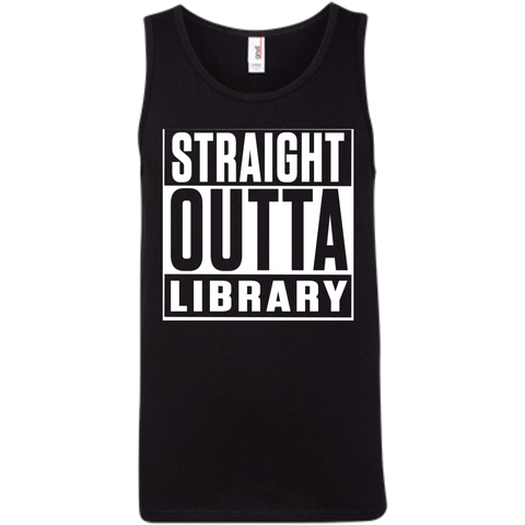 Straight Outta Library 100% Ringspun Cotton Tank Top - TeachersLoungeShop - 1