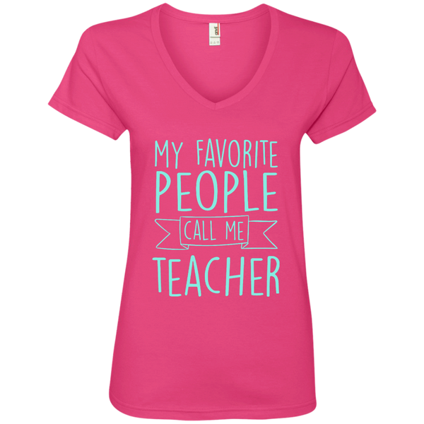 My Favorite People Call Me Teacher Ladies' V-Neck Tee - TeachersLoungeShop - 2