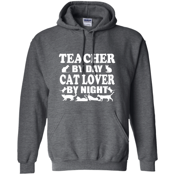 Teacher by Day Cat Lover by Night Pullover Hoodie 8 oz - TeachersLoungeShop - 3