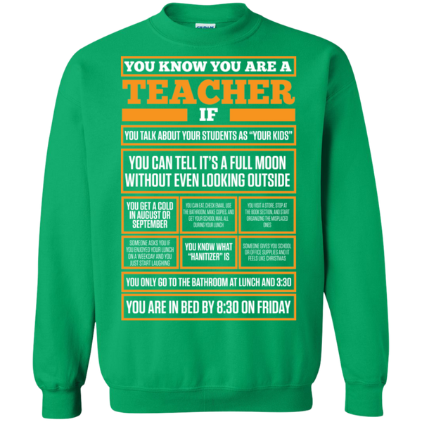You know You are a Teacher if  Crewneck Pullover Sweatshirt  8 oz - TeachersLoungeShop - 6