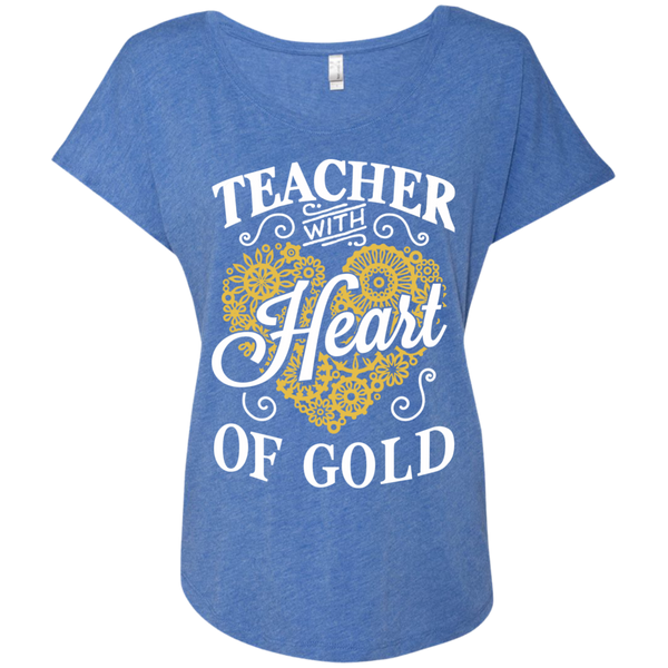 Teacher with Heart of Gold  Level Ladies Triblend Dolman Sleeve - TeachersLoungeShop - 8