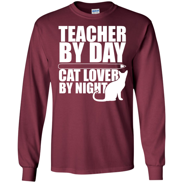 Teacher by Day Cat Lover by Night Ultra Cotton Tshirt - TeachersLoungeShop - 7