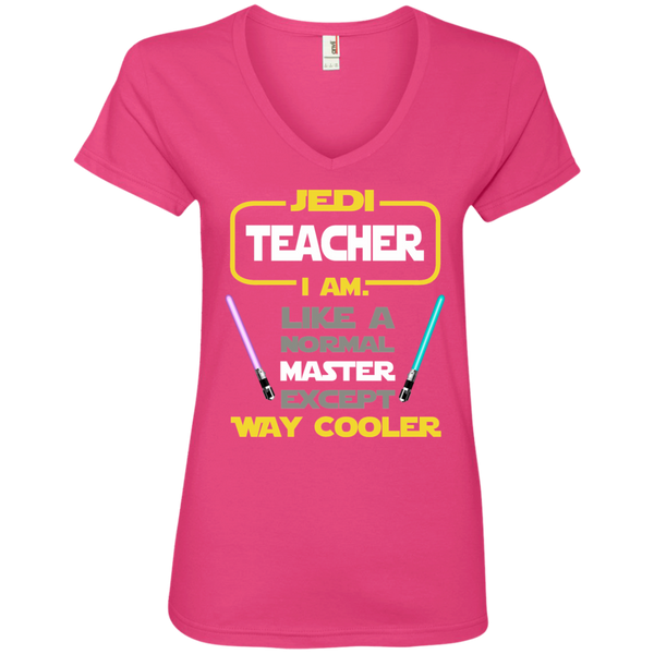 Jedi Teacher I Am Like a Normal Master Except Way Cooler Ladies' V-Neck Tee - TeachersLoungeShop - 2