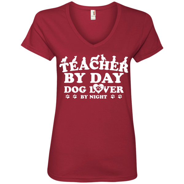 Teacher By Day Dog Lover  Ladies' V-Neck Tee - TeachersLoungeShop - 3