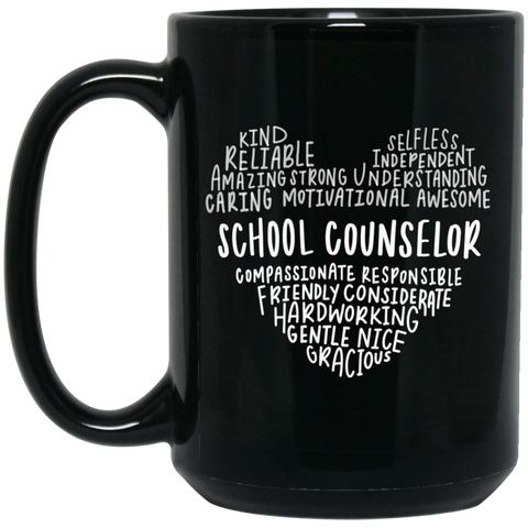 School counselor heart   15 oz. Black Mug