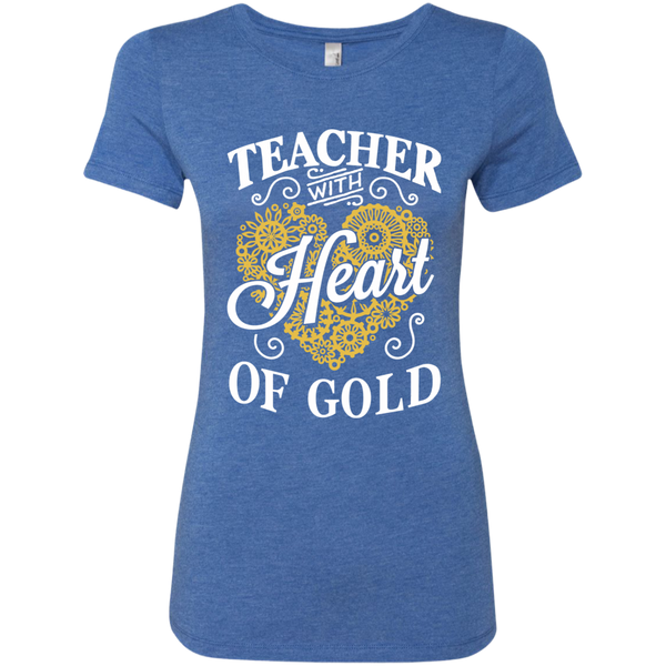 Teacher with Heart of Gold  Level Ladies Triblend T-Shirt - TeachersLoungeShop - 6