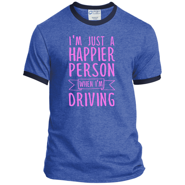 I'm Just a Happier Person When I'm Driving Ringer Tee - TeachersLoungeShop - 7