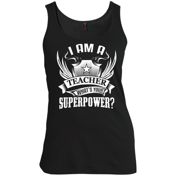 I am a Teacher what's your Superpower  Scoop Neck Tank Top - TeachersLoungeShop - 2
