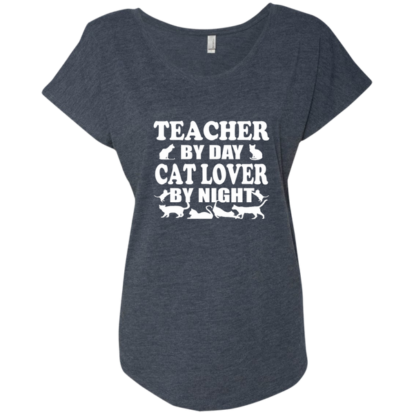 Teacher by Day Cat Lover by Night Next Level Ladies Triblend Dolman Sleeve - TeachersLoungeShop - 5